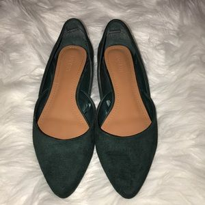Forrest Green Suede Pointed Flats